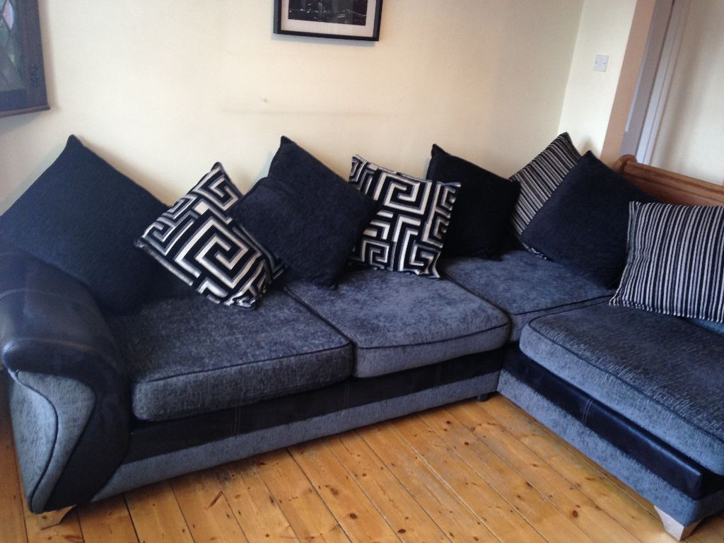 Dfs Dare Left Corner Sofa Charcoal Grey And Black Beautiful Condition Very Comfortable