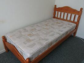 SINGLE BED WOODEN WITH HEADBOARD AND CLEAN MATTRESS