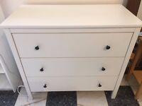 3 draw white dresser/chest