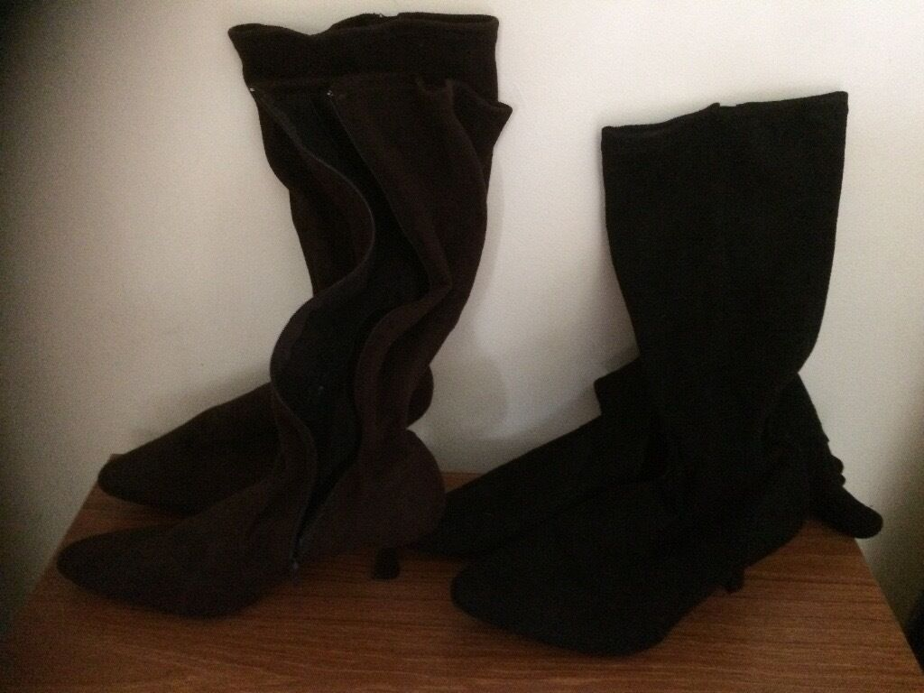 Womens boots, soft suede 2 pairs blackbrownin Eastleigh, HampshireGumtree - 2 pairs boots, very soft and light, one black, one brown with small heel