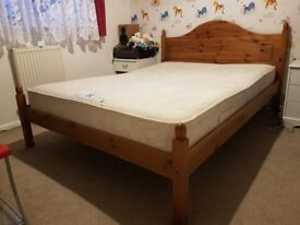 Pine, double bed with good quality POSTUREPEDIC mattress