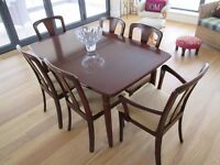 Solid mahogany Meredew dining table and 6 chairs