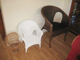 Three Individual Wicker Chairs.