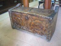 ANTIQUE, VERY OLD SOLID WOOD SMALL CARVED TRUNK/CHEST. VERSATILE USAGE & LOCATION.VIEW/DELIVERY POSS