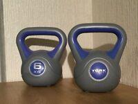 York Fitness 6kg Kettlebell Dumbbell Weights x 2