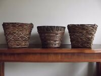 3 x Wicker Baskets/ Plant Pots / Containers - Indoor or Outdoor Use