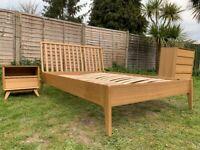 Contemporary John Lewis House Maine Ash 4FT6 Double Size Frame & Oak Stride Bedside Table
