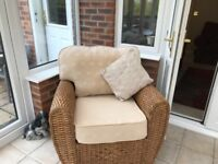 2 seater sofa, 2 chairs, 1 footstool 2 smoked glass tables 1 oblong and 2 square excellent condtiom