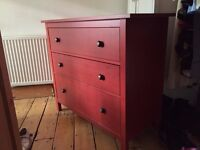 Customised red HEMNES chest of drawers
