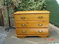 Pine Varnished Three Drawer Chest. In Good Clean Condition. Can Deliver.