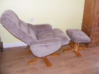 CAN DELIVER - SWIVEL CHAIR WITH FOOT STOOL IN VERY GOOD CONDITION