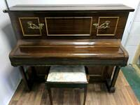 Stunning Mahogany 'Duck, Son & Pinker' Upright Console Piano & Stool - CAN DELIVER
