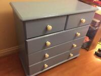 Blue Pine Chest of Drawers -£60