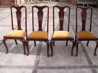 4 Queen Anne Style Early Victorian Mahogany Cabriole legged Chairs.