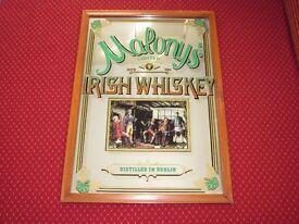 "A LARGE 1970'S PUB ADVERTISING MIRROR MALONY'S IRISH WHISKEY 24"" X 34"""