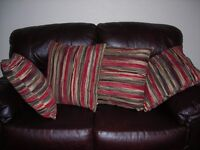 M & S FOUR RED STRIPPED CUSHIONS 50 CM X 50 CM AS NEW