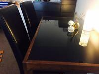 Solid oak and black glass table
