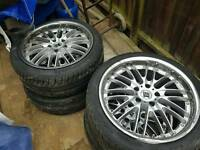 "ONE DAY PRICE 18"" DEEPDISH CROME 5X112 MERCEDES AUDI VW SEAT SKODA ALLOYS AND TYRES"