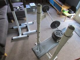 Domyos weight bench, barbell & plates (88.75kg total), Image Pro ii squat stands and ez curl bar