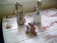 NAO FIGURINES, PRAYING GIRL, GIRL WITH CELLO, AND KITTEN AND BEAR