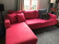 Comfortable large L Shaped Pink Couch