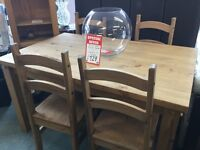 Ex Ex Display Mexican Pine dining table and 4 chairs