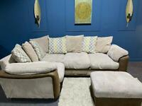 Cream cord corner sofa and storage footstool