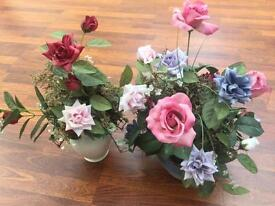 2 bouquets of artificial flowers including vase