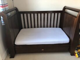 Boori walnut sleigh cot bed and 2 drawer Changer