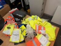 Job lot of Hi Vis , shirts, T shirts, Trousers, Boots, Helmets