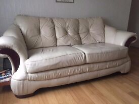 For sale in kilkeel, cream leather suite...