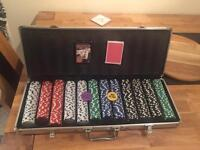 Official poker set with cards and buttons