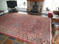 Extra large rug, pure wool, loom spun, mainly red/navy/cream, 4.2m x 3.0m, good condition.