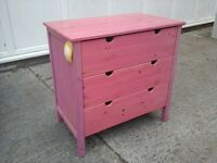 Pine ,pink stained bedroom furniture 4pcs