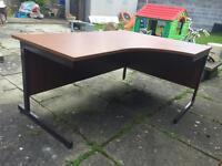 Large Solid Brown Corner Desk Office Table - BARGAIN!