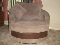 SWIVEL CHAIR BEIGE VELOUR HARDLY USED ONLY 8 MONTHS OLD COST NEW £500