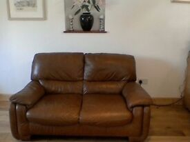 Mid Brown 2 Seat Leather Sofa