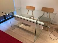 Glass modern dining table from Dwell
