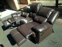 Brown genuine leather reclining sofa