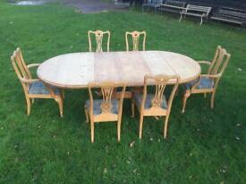 Solid pine extendable table and chairs