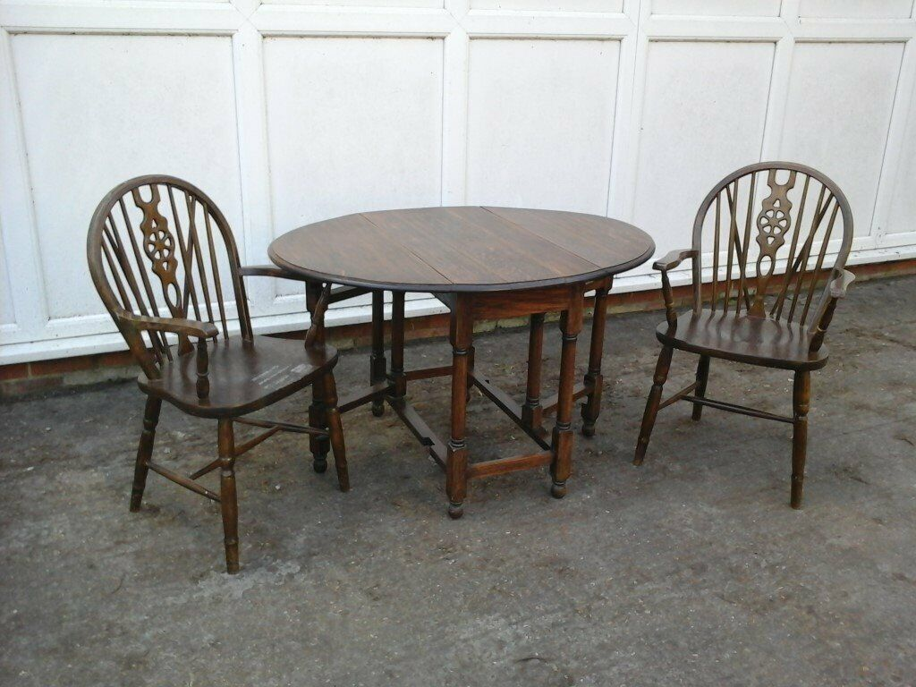 Prime Vintage Ercol Dark Oak Folding Country Kitchen Style Dining Table And Pair Of Carver Chairs In Maidstone Kent Gumtree Download Free Architecture Designs Licukmadebymaigaardcom