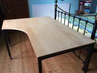 Ikea Work Table/Desk 160cm long, 120cm deep, with further 80cm by 80 cm extension table