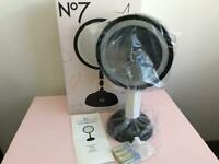 NEW No7 cordless illuminating double sided magnifying mirror 4 AA batteries included RRP £60