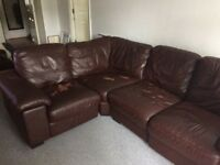 Brown Leather 'L' shaped corner sofa