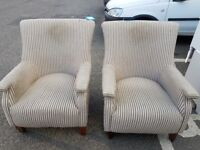2x Wing Back Fire Side Arm Chairs