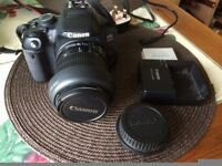 Canon EOS 650D camera with 18-55mm zoom lens, camera bag and memory card