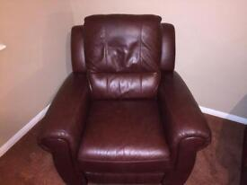 Leather couch and electric recliner