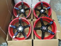 "17"" RED AND BLACK 5 SPOKE ALLOY WHEELS ALLOYS/RIMS fits AUDI SEAT SKODA VW SUBARU TOYOTA AND MORE"