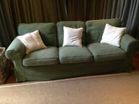 SOFA - 3 seater Ikea Ektorp Sofa 2.18mwide x 0.88deep in Green loose covers. £100 Excellent Cond.