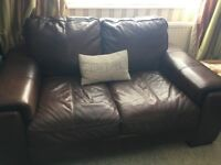 Sale, Last Chance to buy, Dark Brown Leather Sofa Suite
